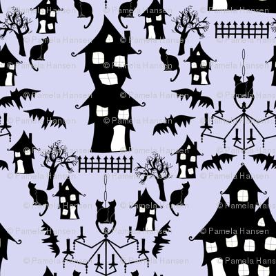 haunted house damask blue