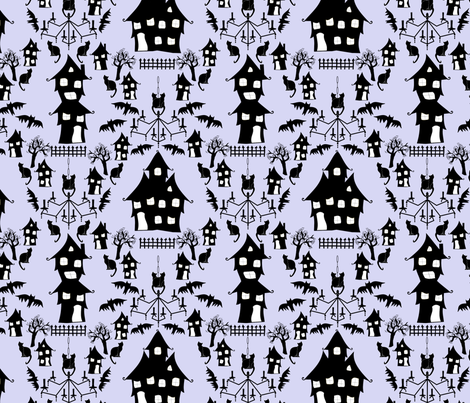 haunted house damask blue fabric by pamelachi on Spoonflower - custom fabric