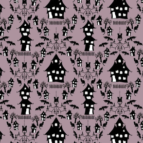 haunted house damask purple