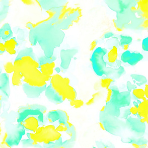Abstract Flora Bright Yellow and Mint