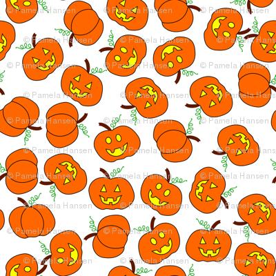 scattered pumpkins white