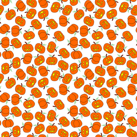 scattered pumpkins white fabric by pamelachi on Spoonflower - custom fabric