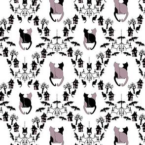 cat damask purple and white