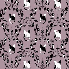 cat damask purple
