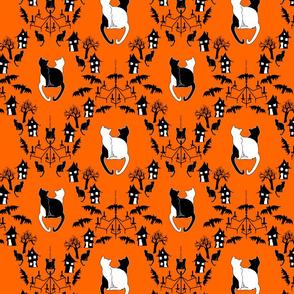 cat damask orange and black