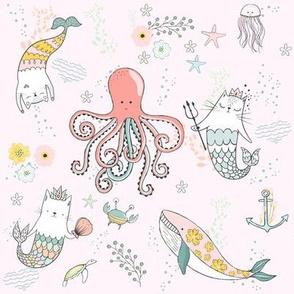 "8"" Mermaid Cat - Pink"