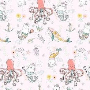 "4"" Mermaid Cat - Pink"