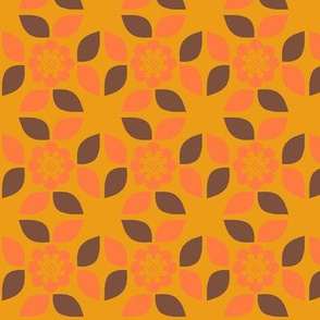 70s pattern - Orange flower with orange and brown leaves.