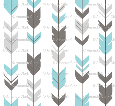 Arrow Feathers - Aqua and grey on white - Woodland nursery