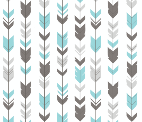 Arrow Feathers - Aqua and grey on white - Woodland nursery fabric by sugarpinedesign on Spoonflower - custom fabric