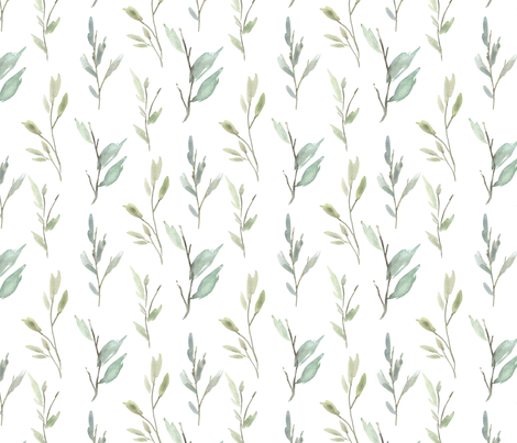 Greenery Watercolor Green Leaves Branches Bright fabric by graphicsdish on Spoonflower - custom fabric