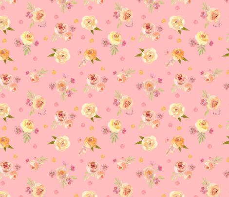 Watercolor pink yellow flowers on pink background fabric by graphicsdish on Spoonflower - custom fabric