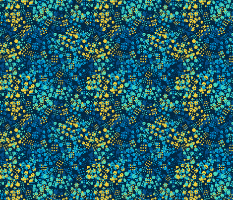 Abstract modern neon bright pattern with blue and yellow dots on dark background fabric by graphicsdish on Spoonflower - custom fabric