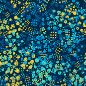Abstract modern neon bright pattern with blue and yellow dots on dark background