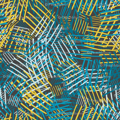 Abstract pattern with blue, yellow lines on dark background