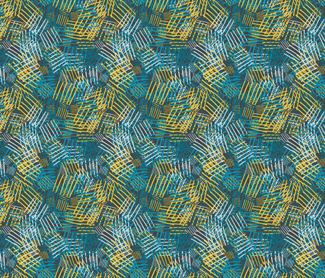 Abstract pattern with blue, yellow lines on dark background fabric by graphicsdish on Spoonflower - custom fabric