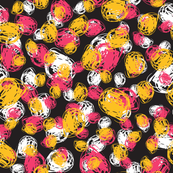 Abstract pattern with red, yellow, white circles on black dark background