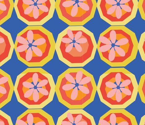FLOWERS IN DECAGONS fabric by jimena_garcia on Spoonflower - custom fabric