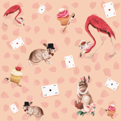 Alice's Garden Party - Flamingo and Rabbit