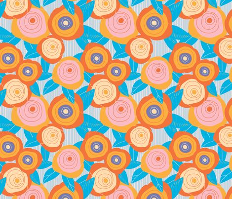 ORANGE ROSES IN STRIPES fabric by jimena_garcia on Spoonflower - custom fabric