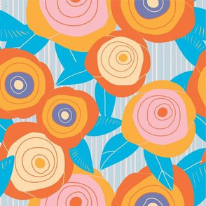 ORANGE ROSES IN STRIPES