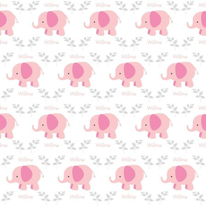 Elephants in A Row - SMALL451 Pink Gray  Personalized WILLOW