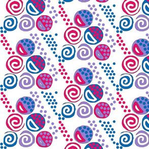 Circus Kae on White- pink blue purple