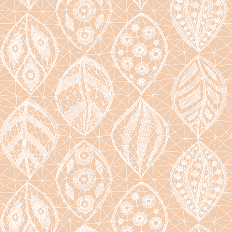 Lace Leaves - White Parfait fabric by fernlesliestudio on Spoonflower - custom fabric