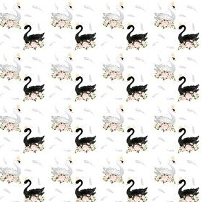 "1.5"" Black & White Swan with Feathers"