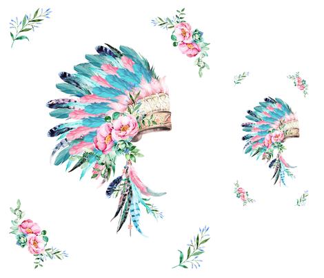 "42""x36"" KONA 2 panels / 1 - 29""x35"" 1-10""x18"" / PINK & AQUA Headdress fabric by shopcabin on Spoonflower - custom fabric"