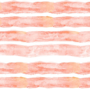 Large Watercolor Stripes // Coral