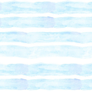 Large Watercolor Stripes // Baby Blue
