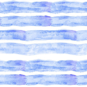 Large Watercolor Stripes // Ocean Blue