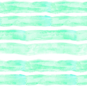 Large Watercolor Stripes // Minty Turquoise