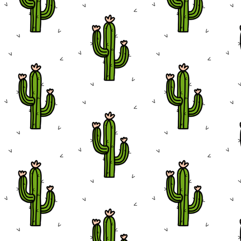 Cactus flower print fabric by coramaedesign on Spoonflower - custom fabric