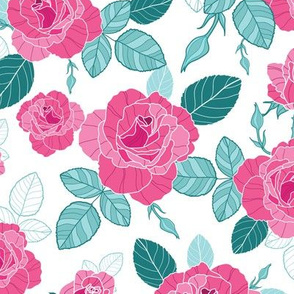 Pink and Blue Vintage Roses Repeat Pattern