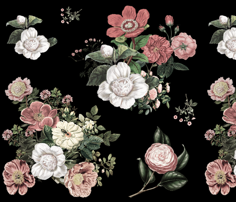 "18"" Vintage Heirloom Florals / Black fabric by shopcabin on Spoonflower - custom fabric"