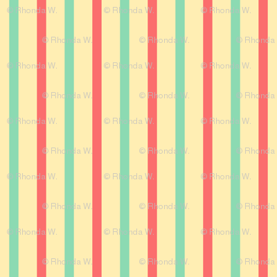 Beach Vertical Stripes - Wide Apricot Ice Ribbons with Aqua and Pink Coral