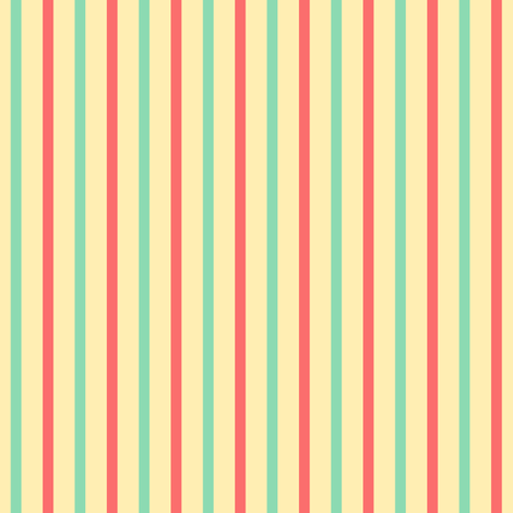Beach Vertical Stripes - Wide Apricot Ice Ribbons with Aqua and Pink Coral fabric by rhondadesigns on Spoonflower - custom fabric