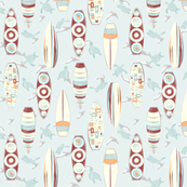 Hawaiian Rainbow Surfboards Seamless Repeating Pattern on Light Blue