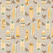 Hawaiian Rainbow Surfboards Seamless Repeating Pattern on Brown