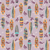 Hawaiian Rainbow Surfboards Seamless Repeating Pattern on Purple