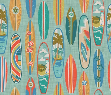 Rainbow Surfin fabric by bzbdesigner on Spoonflower - custom fabric