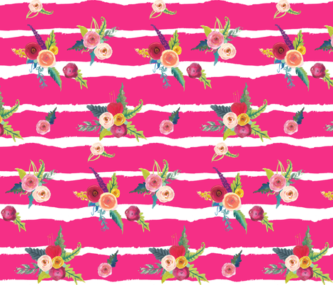 Flirty Floral Stripes // Magenta fabric by theartwerks on Spoonflower - custom fabric