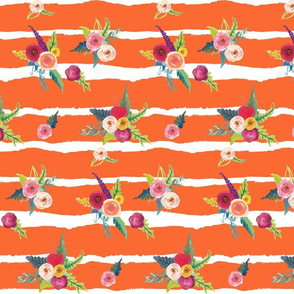 Flirty Floral Stripes // Orange