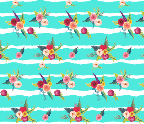 Flirty Floral Stripes // Turquoise   fabric by theartwerks on Spoonflower - custom fabric