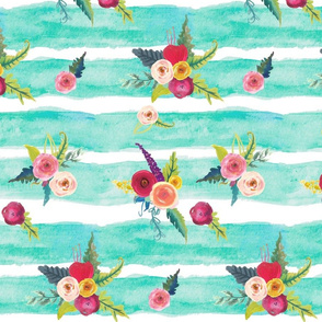 Watercolor Stripe with Floral // Aqua