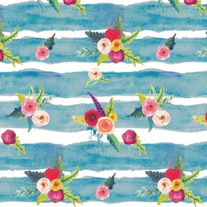 Watercolor Stripe with Floral // Cerulean