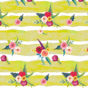Watercolor Stripe with Floral // Chartruese