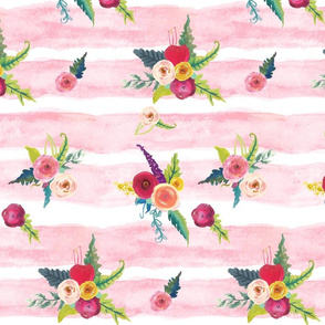 Watercolor Stripe with Floral // Light Pink